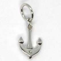 SOLID 18K WHITE GOLD PENDANT, NAUTICAL ANCHOR, LENGTH 0.85 INCHES, MADE IN ITALY image 1
