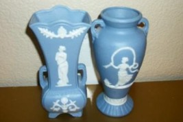 Wedgwood Jasperware Style Japan Vases Vintage Chic Shabby Hollywood Regency - $35.14
