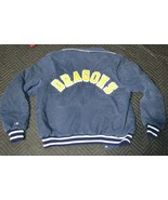 VTG DRAGONS Spell-Out Champion Jacket Large Corduroy Varsity Style Lined Snap - $280.11