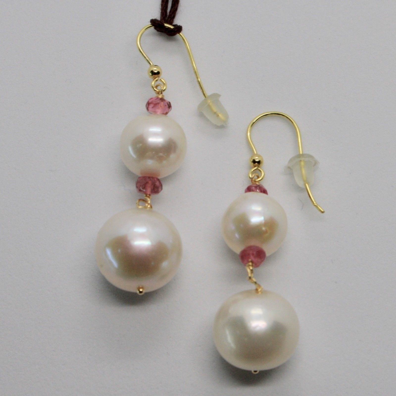 YELLOW GOLD EARRINGS 18KT 750 PEARLS FRESH WATER TOURMALINE PINK MADE IN ITALY