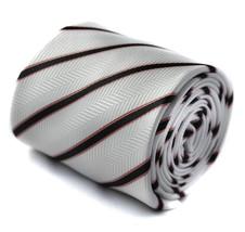 Frederick Thomas Handmade Ivory Cream & Black Striped Mens Wedding Tie FT1571