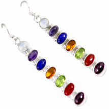 Chakra Earrings, 925 Silver, Moonstone, Amethyst, Carnelian, Lapis, Citrine - $32.00