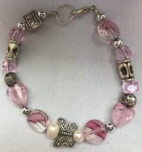 "Pink & White & Silver 8"" Bracelet -Hearts/Butterflies/Shapes - $1.00"