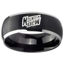 8mm Mountain Dew Dome Brushed Black 2 Tone Tungsten Wedding Engraving Ring - $39.99