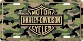 Harley Davidson Logo on Camo Embossed Metal Vanity Car License Plate Aut... - $8.95