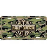 Harley Davidson Logo on Camo Embossed Metal Vanity Car License Plate Aut... - $8.95