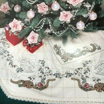 Zweigart Silvretta Christmas Tree Skirt Cream & Gold Holiday Cross Stitc... - $4.75+