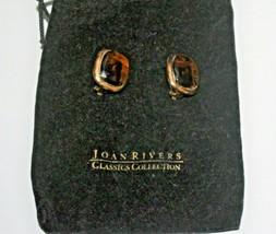 Joan Rivers Gold Tone Smokey Quartz Colored Stone Signed Clip On Earrings - $21.50