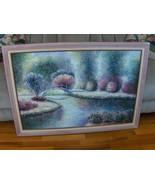 Vintage Lane Oil Painting on Canvas Framed Stream Bridge Shrubs 40 X 28 - $799.99