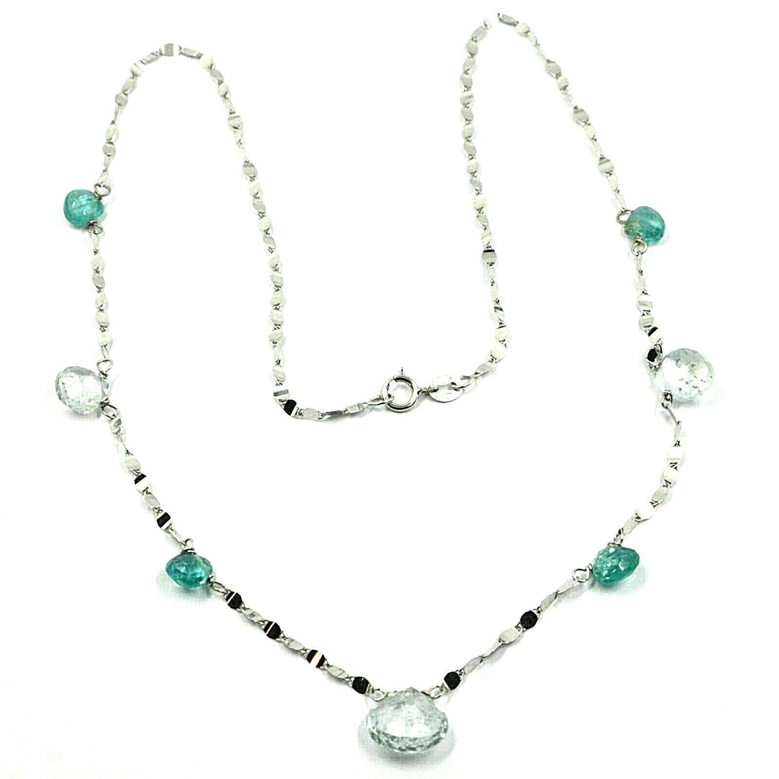 18K WHITE GOLD NECKLACE DROP FACETED GREEN & BLUE ALTERNATE AQUAMARINE, CHAIN