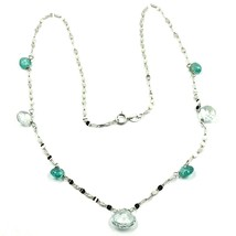 18K WHITE GOLD NECKLACE DROP FACETED GREEN & BLUE ALTERNATE AQUAMARINE, CHAIN image 1