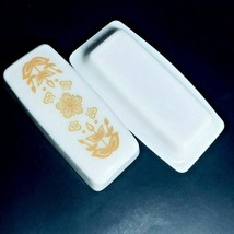 Corelle Gold Butterfly Butter Dish Covered Lid Pyrex White Vnt 1/4 Pound... - $22.06