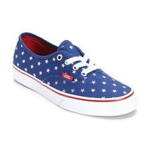 VANS AUTHENTIC FOIL STARS RED BLUE SHOES KIDS US 13.5 UK 13 EUR 31 CM 18... - $28.01
