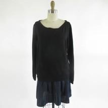 M - BORDEAUX Anthropologie Black Soft Mock Layered Sweatshirt Dress 0000MB - $26.00