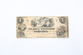 1854 $1 One Dollar The Bank of Washtenaw Note - $59.40