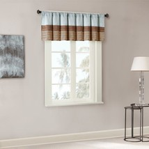 Luxury Blue & Brown Striped  Pintucked Window Valance - Rod Pocket - $35.14