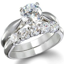 White Gold Plated 925 Sterling Silver Round Cut Diamond Wedding Bridal Ring Set - $84.39