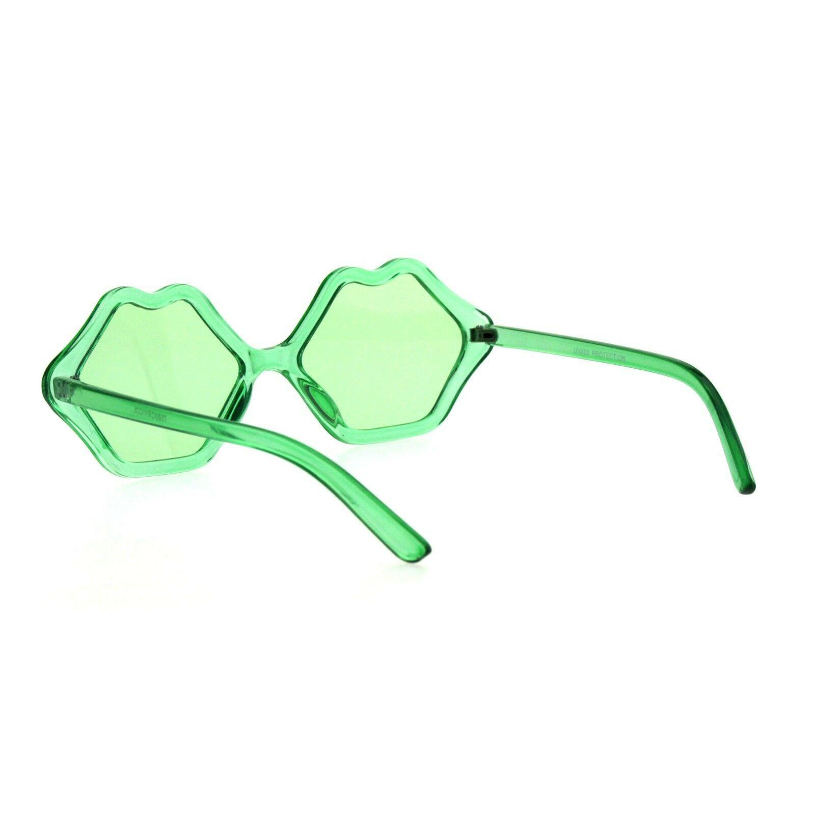Womens Hippie Kissing Lip Shape Plastic Retro Funk Sunglasses