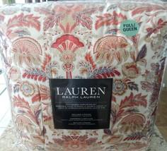 Ralph Lauren JACOBEAN FLORAL RED BLUE TAN 3 PC QUEEN COMFORTER SET + GIFT - $142.07