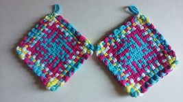 Handmade Pot Holders Hot Pads Loom Loop Woven Potholders Custom Trivet Coa - $9.99