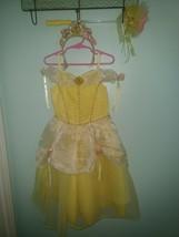 Disney Store Belle Costume Beauty & the Beast Dress Size 4/5 XS Wand & Crown - $18.99
