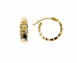18K YELLOW GOLD CIRCLE HOOP EARRINGS 14 x 4 MM WORKED KNURLED WAVE MADE IN ITALY image 1