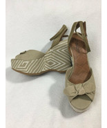 NEW Lucky Brand 8 Viera Tan Bow Diamond Platform Wedge Heels Shoes Ankle... - $29.99