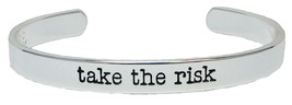 Take the Risk Silver Cuff Bangle Bracelet Inspirational Stackable Jewelry - $12.65