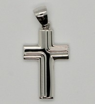 PENDENTIF CROIX PENDENTIF OR BLANC 750 18K STYLISÉ MADE IN ITALY image 1