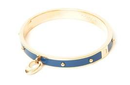 NWT COACH Enamel Rivets Signature C Hinged Bangle Bracelet Cuff Gold Blu... - $54.23