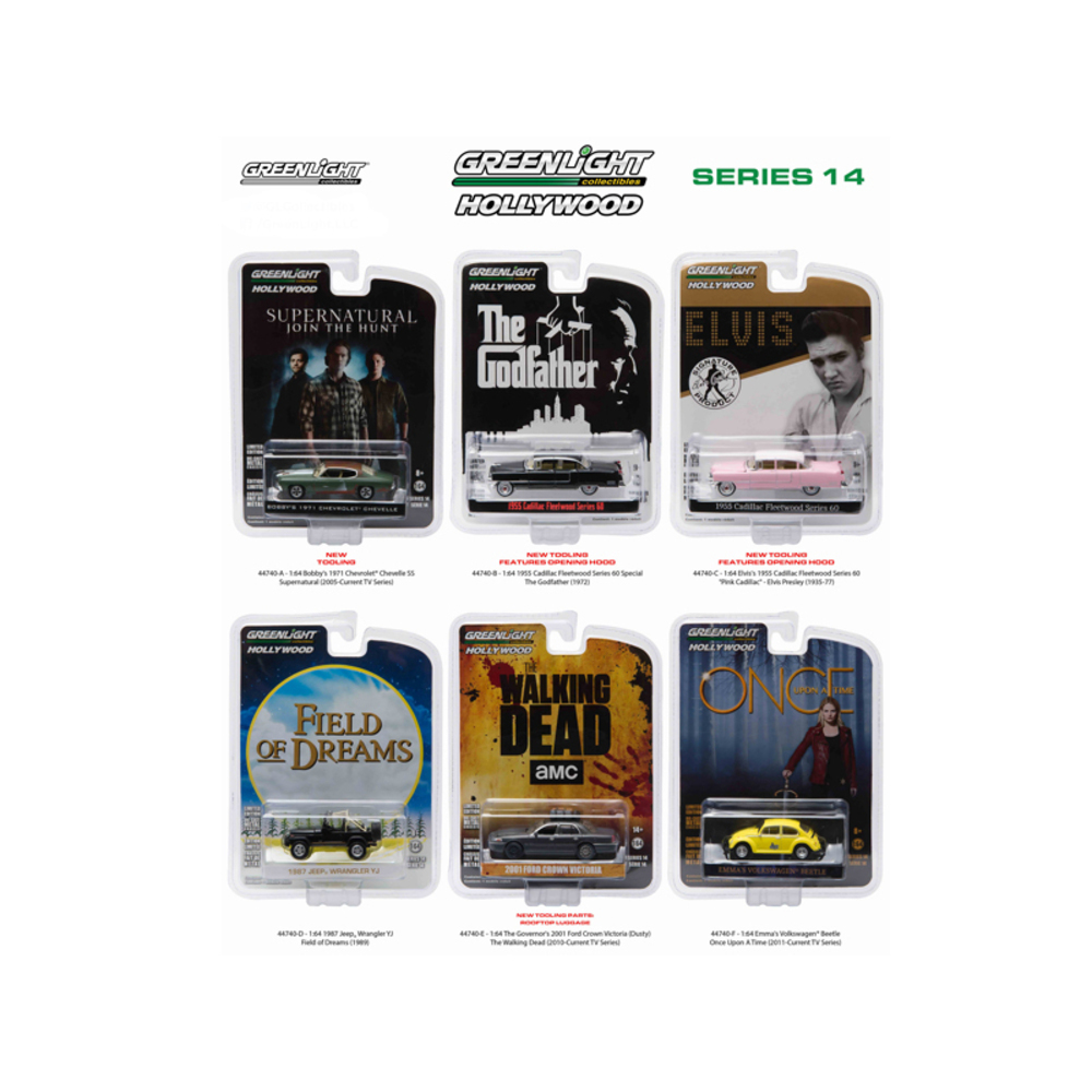 Hollywood Series / Release 14, 6pc Diecast Car Set 1/64 by Greenlight 44740