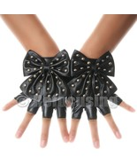 BLACK FAUX LEATHER STUD BOW FINGERLESS GLOVES - $10.50