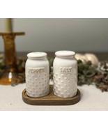 Salt & Pepper Shaker 2 Pcs Sets Glass NEW Sealed Package White ceramic - $19.79