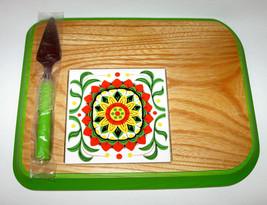 Vintage Cheese Board 2214A Keyakiwood Green Trim Box Japan Stainless Ste... - $99.99
