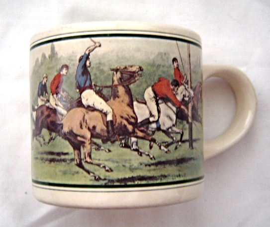 Primary image for  Vintage Ralph Lauren Polo Match Coffee Mug Cup Korea Equestrian Horses 1978