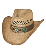 Bullhide So Far Away Vented Raffia Straw Cowgirl Hat Shapeable Rivets Na... - £56.58 GBP