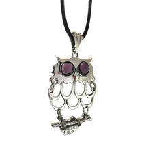 STERLING STERLING PURPLE EYE OWL PENDANT NECKLACE - $54.75