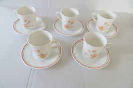 Set of 5 Corelle Flat Cup & Saucer Set in the Peach Floral Pattern - $11.29