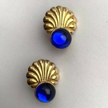 Vintage Blue Cabochon Gold Tone Shell Texture Clip On Earrings Vibrant Nautical - $12.58