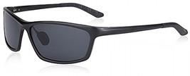SUNGAIT Classic Polarized Sunglasses Rectangle Metal Frame For Men (Black Frame - $50.45