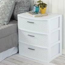 3 Drawer Wide Weave Tower Storage Cabinet Box Organizer Dresser Chest Do... - £23.29 GBP