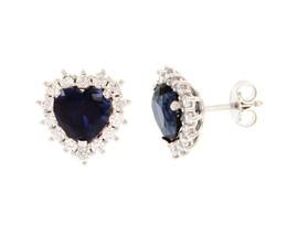 18K WHITE GOLD HEART EARRINGS, BLUE RECRYSTALLIZED SAPPHIRE, ZIRCONIA FRAME image 1