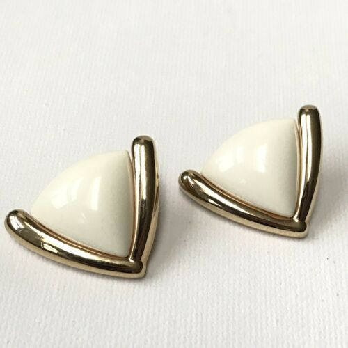 Vintage 80's Monet Post Earrings Gold Tone With Ivory Resin - $11.88