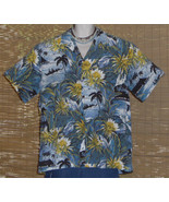 Hilo Hattie Hawaiian Shirt Blue Black 1980s 2XL - $24.95