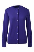 Lands End  Women's LS Supima Crew Cardigan Sweater Purple Sapphire New - $19.99