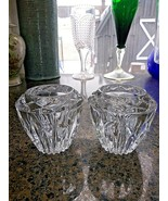 """Set Of 2 Lead Crystal Pressed Votive Candleholders 3"""" Tall, 4"""" Wide - $9.85"""