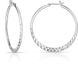 925 Solid Sterling Silver Half Flat Diamond-Cut Hoop Earrings 2 inch Dia... - $129.19