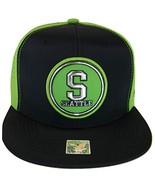 Seattle Men's Patch Style Breathable Snapback Baseball Cap (Navy/Lime) - $13.95
