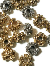 2 - Flowers Floral Spacer Fine Pewter Beads - 6x6x3.5mm 2mm Hole image 3