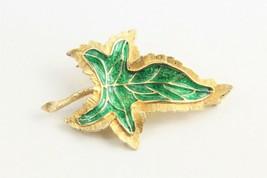 VINTAGE ESTATE Jewelry GREEN ENAMEL MODERNIST MCM LEAF BROOCH  - $15.00